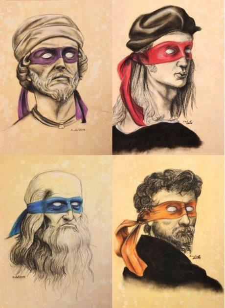 The historical Italian artists, Donatello, Raphael, Leonardo, Michelangelo! Wearing the colored bandanas of the corresponding Ninja Turtles who were named after the artists!