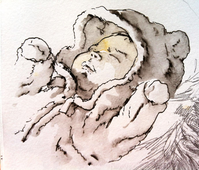 Baby Waking Up From Sleep,Baby Waking Up ,Waking Up From Sleep,From Sleep,Waking Up,Baby Sleeping ,Colour Painting,Baby ,Sleeping, Colour ,Painting,sleep,sketch