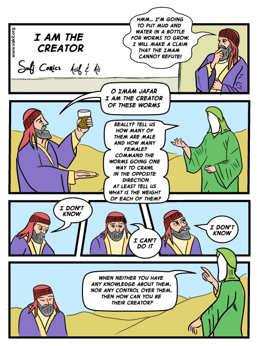 How Can You Be The Creator,Creator,Imam Jaffar,Imam,Muslims,Muslim,Islam,Sufi Comics,I am the Creator,sufi,comic