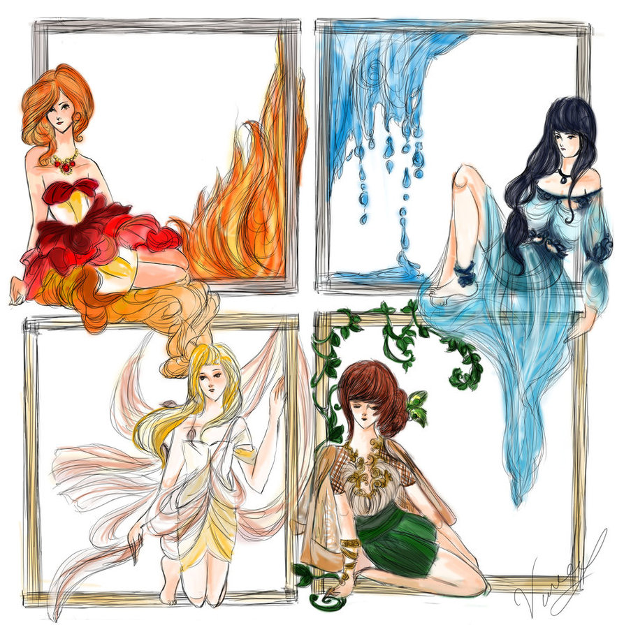 The Four Elements,earth,fire,water,air