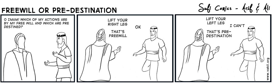 Freewill Or Pre-Destination,Freewill ,Or Pre-Destination,Pre-Destination,destiny,islam,muslilms,ImamAli,Hazrat Ali,sufi comics,sufi,comic