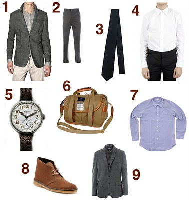 1. MSGM Flannel Jacket 2. E Tautz Casual Flat Front Trousers 3. Dolce and Gabbana Silk Tie 4. Givenchy Poplin Shirt 5. J. W. Benson 1915 Trench Watch 6. Nigel Cabourn Army Satchel 7. Folk Shoulder Patch Shirt 8. Clarks Desert Boots 9. Dolce and Gabbana Herringbone Jacket
