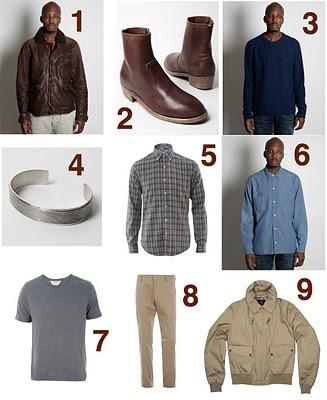 1. Levi's Vintage Leather Jacket 2. Maison Martin Margiela Ankle Boot 3. Levi's Vintage Cable Knit Sweater 4. Maison Martin Margiela Scratched Cuff 5. Ralph Lauren Checked=
