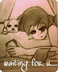 Girl Waiting For A Reply ,Girl ,Waiting For A Reply ,Dog,sketch,comic,toon,anime,cute,sad,upset,miss you
