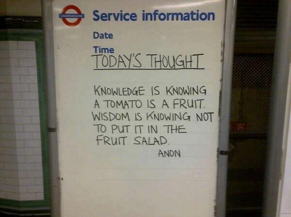 Knowledge Vs Wisdom,Knowledge,Wisdom,Wisdom vs Knowledge,funny,comic,remember this,fruit salad,salad,fruit,tomato