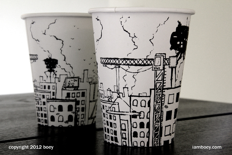 drawing, Drawing On Coffee Cups, Drawing On Cups, sketching, sketching On Cups