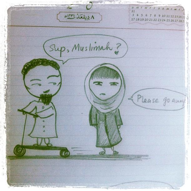flirt,islamic way to flirt,hijabi,muslimah,muslim comic,funny,boys,girls,please go away,go away,teasing,love,flirting,