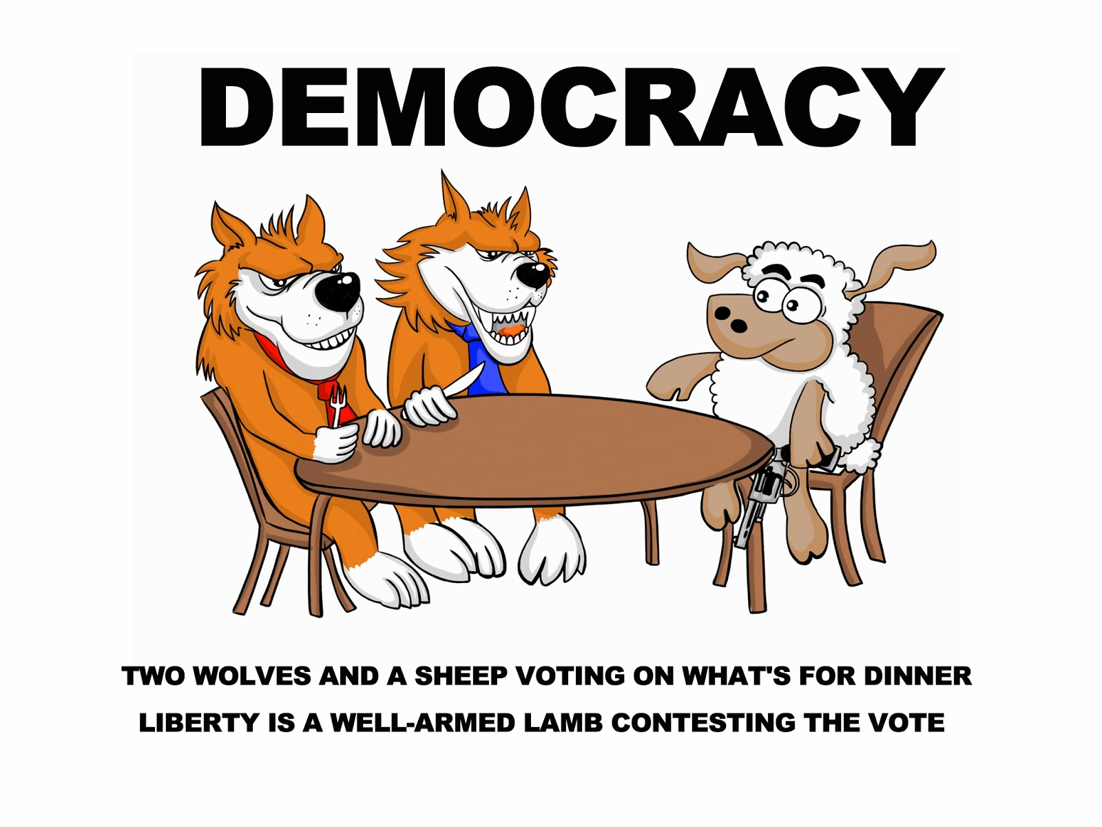 Two Wolves, Wolves,Democracy,dinner,vote,lamb,well armed,liberty,sheep, wolves vs sheep,lamp,democracy is,liberty is,