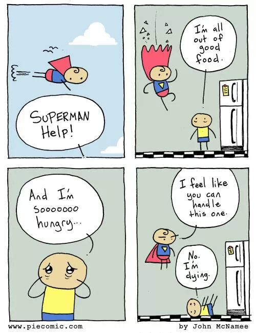 superman,superman comic,I am out of food,i love food,superman meme,food meme,funny,comic,help me,superman help me