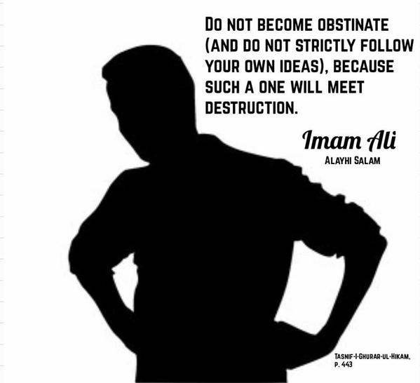 Imam Ali, Obstinate,strictly follow,your own ideas,meet destruction,destruction,Islam,Islamic Saying,Saying of Imam Ali,Quotes of Imam Ali,Quote of Imam Ali,sayings of Imam Ali