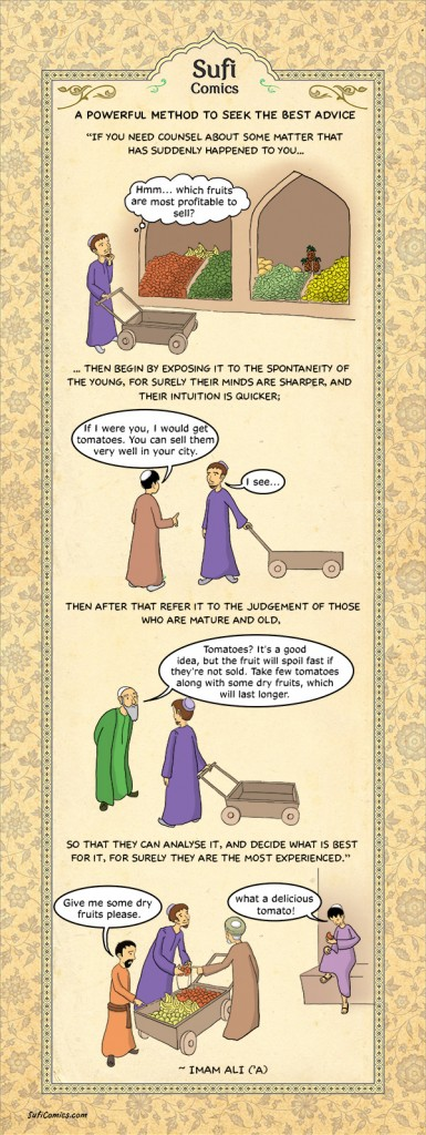 How To Seek The Best Advice,sufi comics,comics,islami comics,islamic comics,islamic teachings,islamic saying,saying of imam,  saying of imam ali,saying of hazrat ali,How to Seek the Best Advice,Best Advice,Advice,