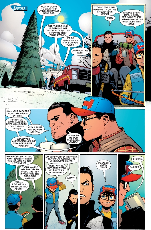 the kents and the waynes bonding together,the kents and the waynes bonding,the batman and the superman bonding together,the superman and the batman bonding together,superman and batman,superman and batman bonding together,superman and batman on vacation together,superman and batman christmas,superman and batman christmas tree,batman and superman christmas
