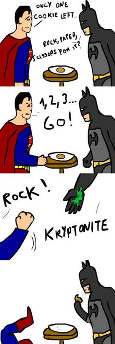 Rock Paper Kryptonite,Rock Paper scissor,superman batman,batman,justice league,superman,Batman comic,comic,dc comic