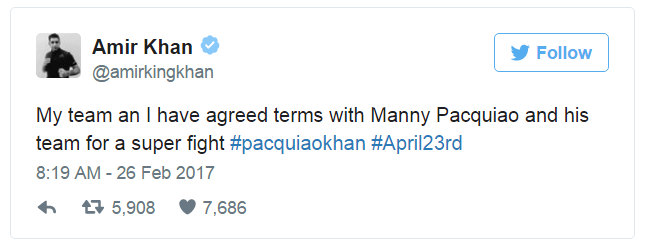 Amir Khan To Fight Manny Pacquiao On 23rd April 2017,Amir Khan,Manny Pacquiao, On 23rd April 2017,Boxing match,Amir Khan boxer, Manny Pacquiao boxer,Pacquiao boxer,Khan 30, #pacquiaokhan, #April23rd,